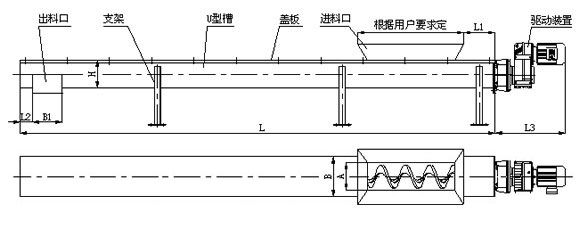 U型螺旋输送机结构图纸